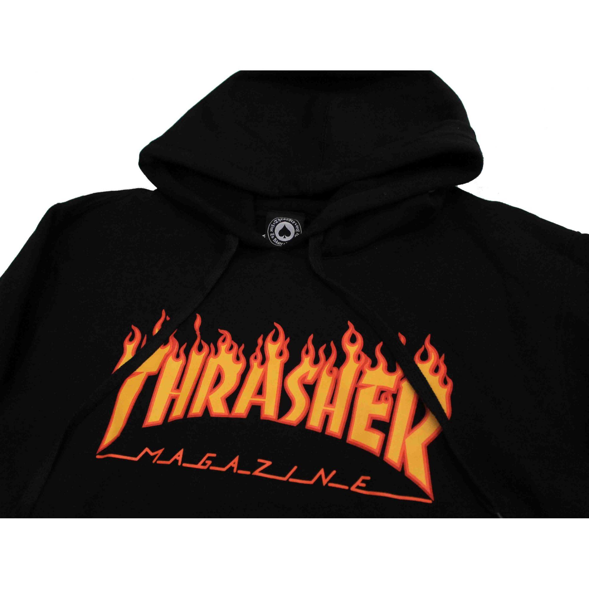 Moletom Thrasher Magazine Classic Flame Hoodie Black