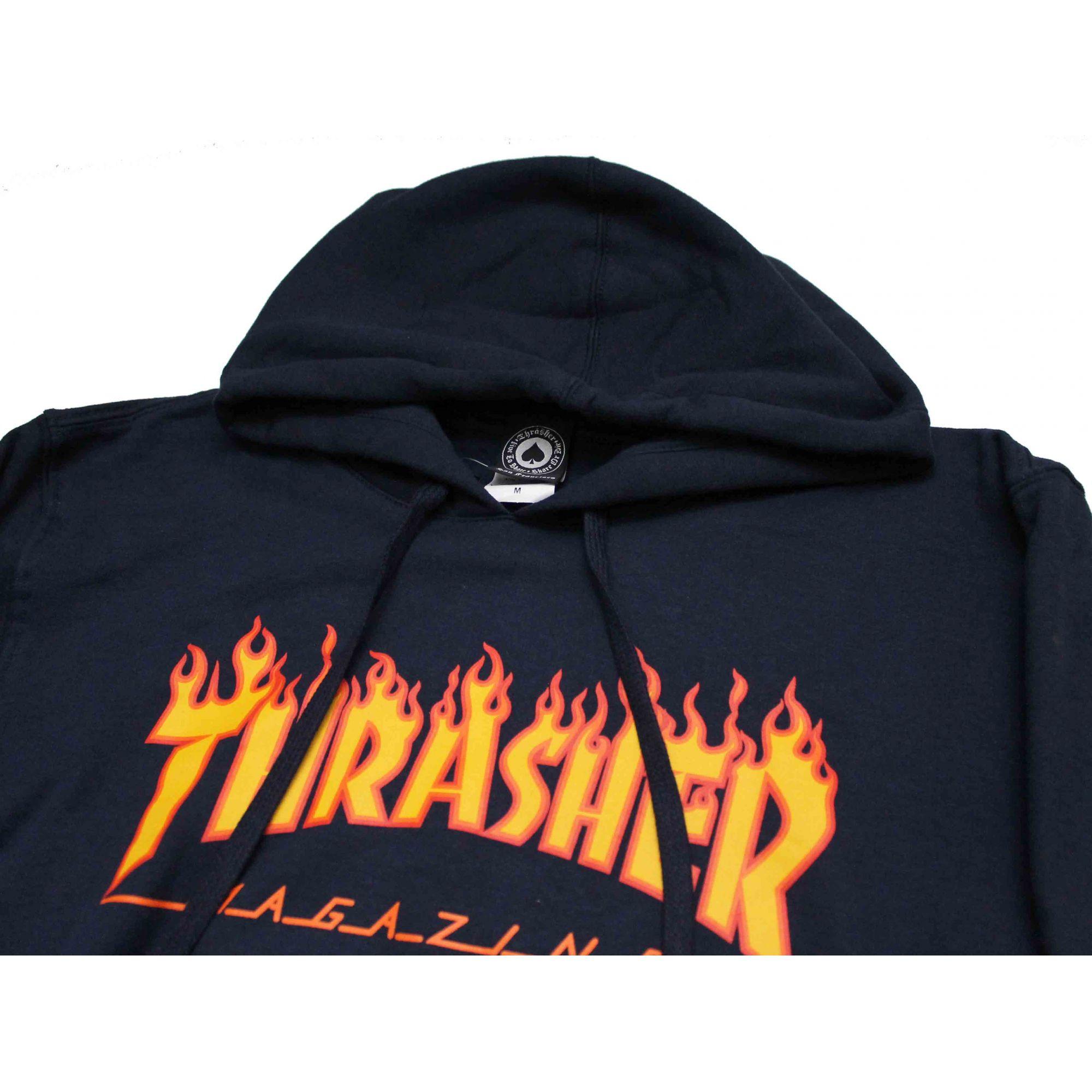 Moletom Thrasher Magazine Classic Flame Hoodie Blue Navy