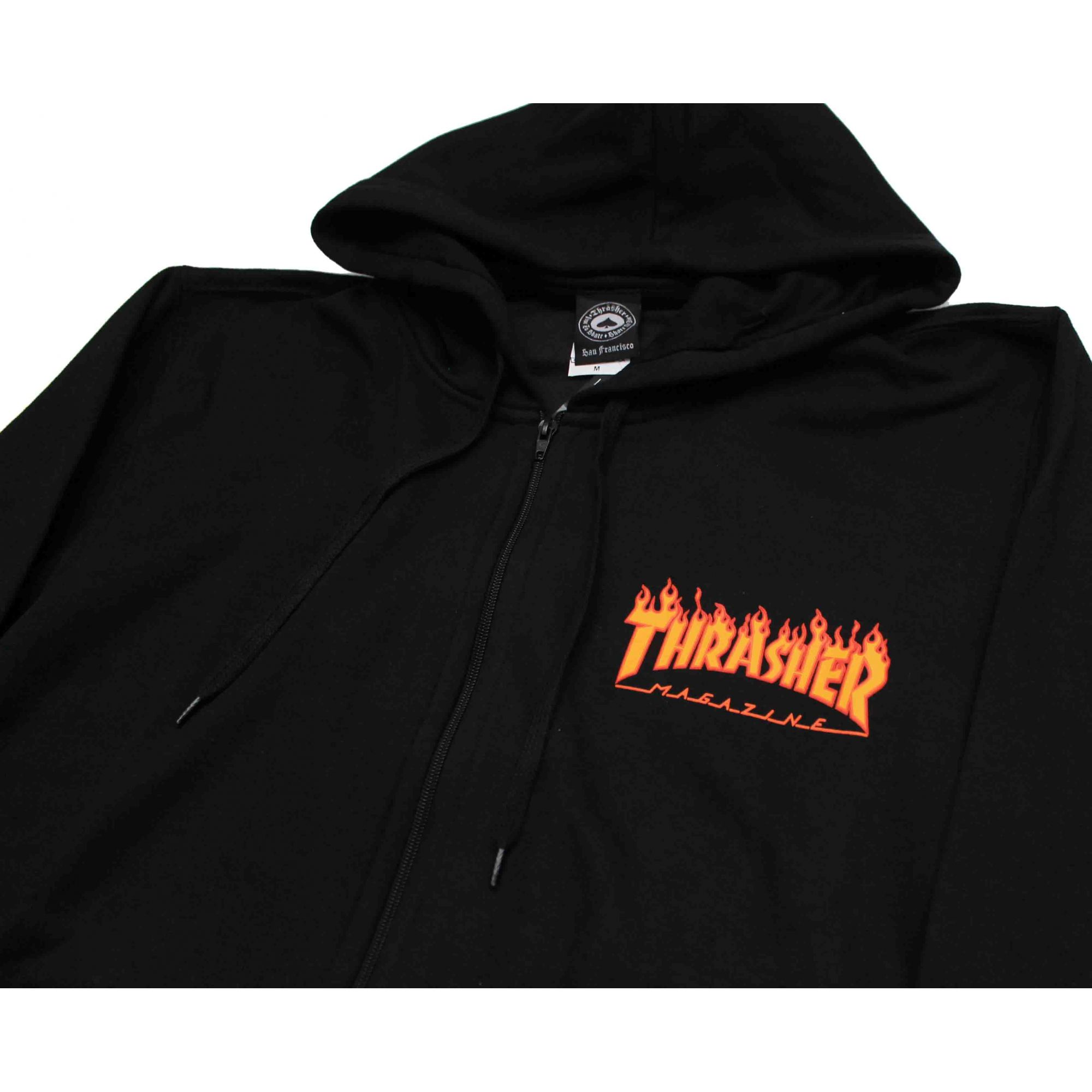 Moletom Thrasher Magazine Zipper Mini Flame Hoodie Black