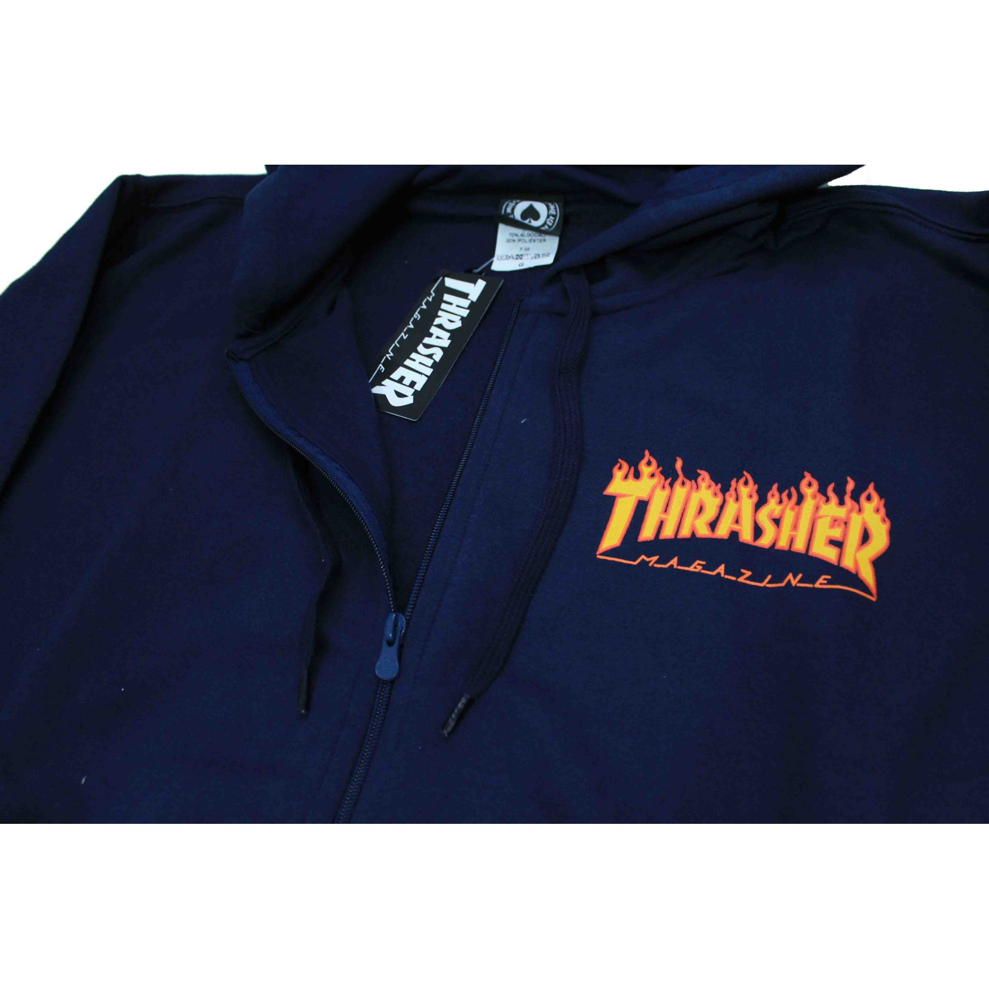 Moletom Thrasher Magazine Zipper Mini Flame Hoodie Blue Navy
