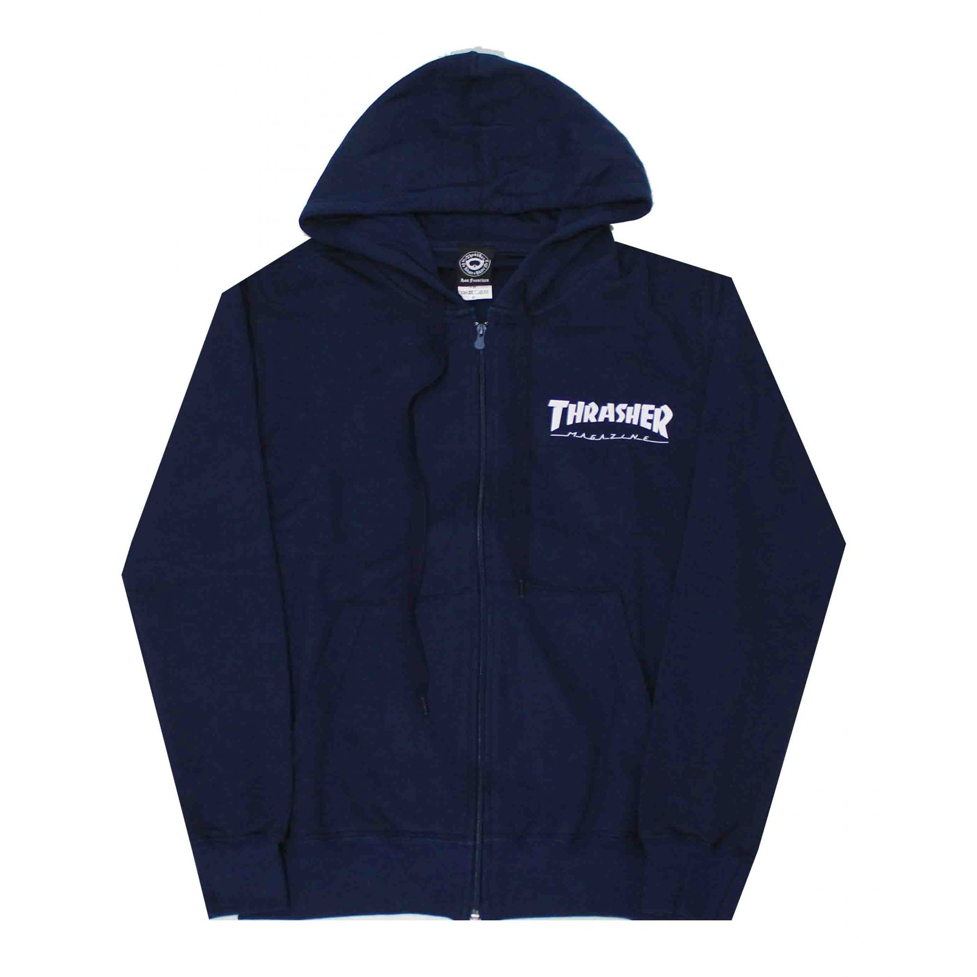 Moletom Thrasher Magazine Zipper Mini Skate Mag Hoodie Blue Navy