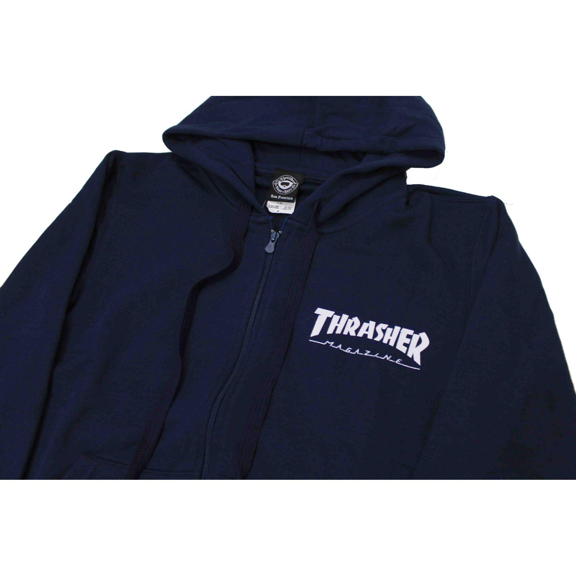 Moletom Thrasher Magazine Zipper Mini Skate Mag Hoodie Blue Navy
