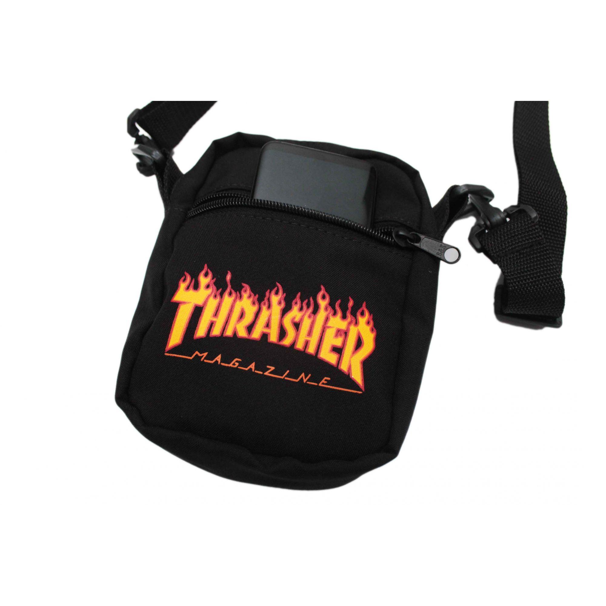 Shoulder Bag Thrasher Magazine Classic Flame Preto