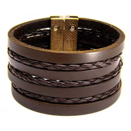 Bracelete De Couro Legítimo Marrom