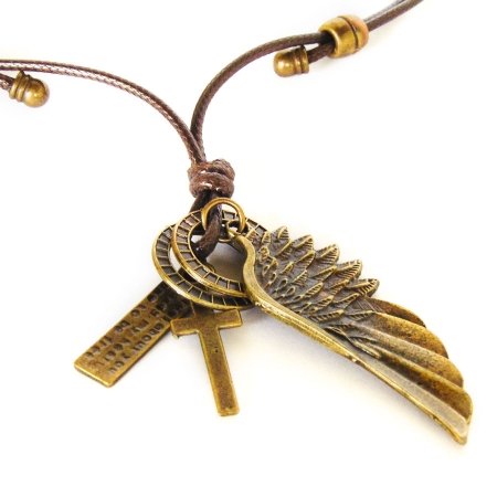 Colar Asa De Anjo e Crucifixo Ouro Velho Ajustável
