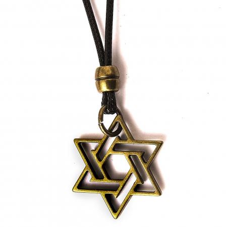 Colar Estrela De Davi Ouro Velho Ajustável
