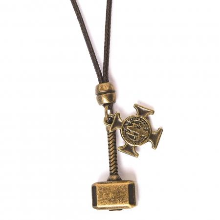 Colar Martelo Do Thor e Cruz São Bento Ouro Velho Ajustável