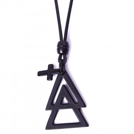 Colar Triângulos E Cruz Black Ajustável