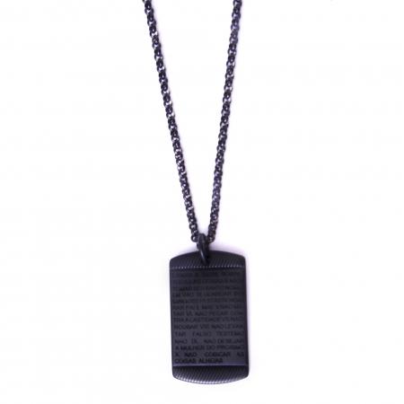 Corrente Aço Inoxidável 10 Mandamentos Black
