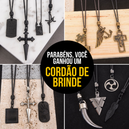 Na compra de 3 produtos ou mais, GANHE 1 CORDÃO + FRETE GRÁTIS (Informe o cordão na observação do pedido)
