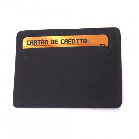 Porta-Cartão De Couro Legítimo Preto