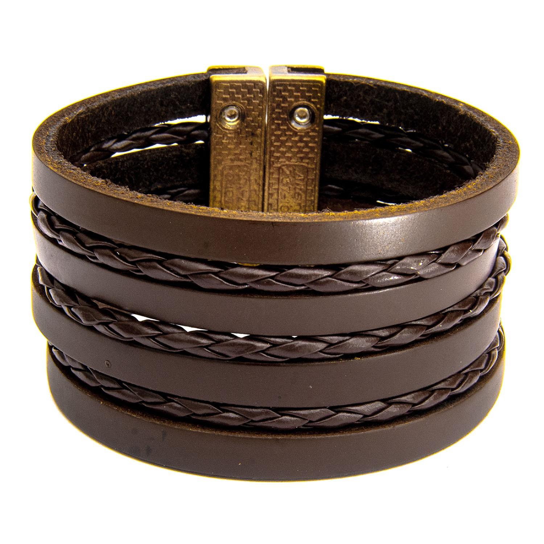 Bracelete De Couro Legítimo Marrom  - Style Empório