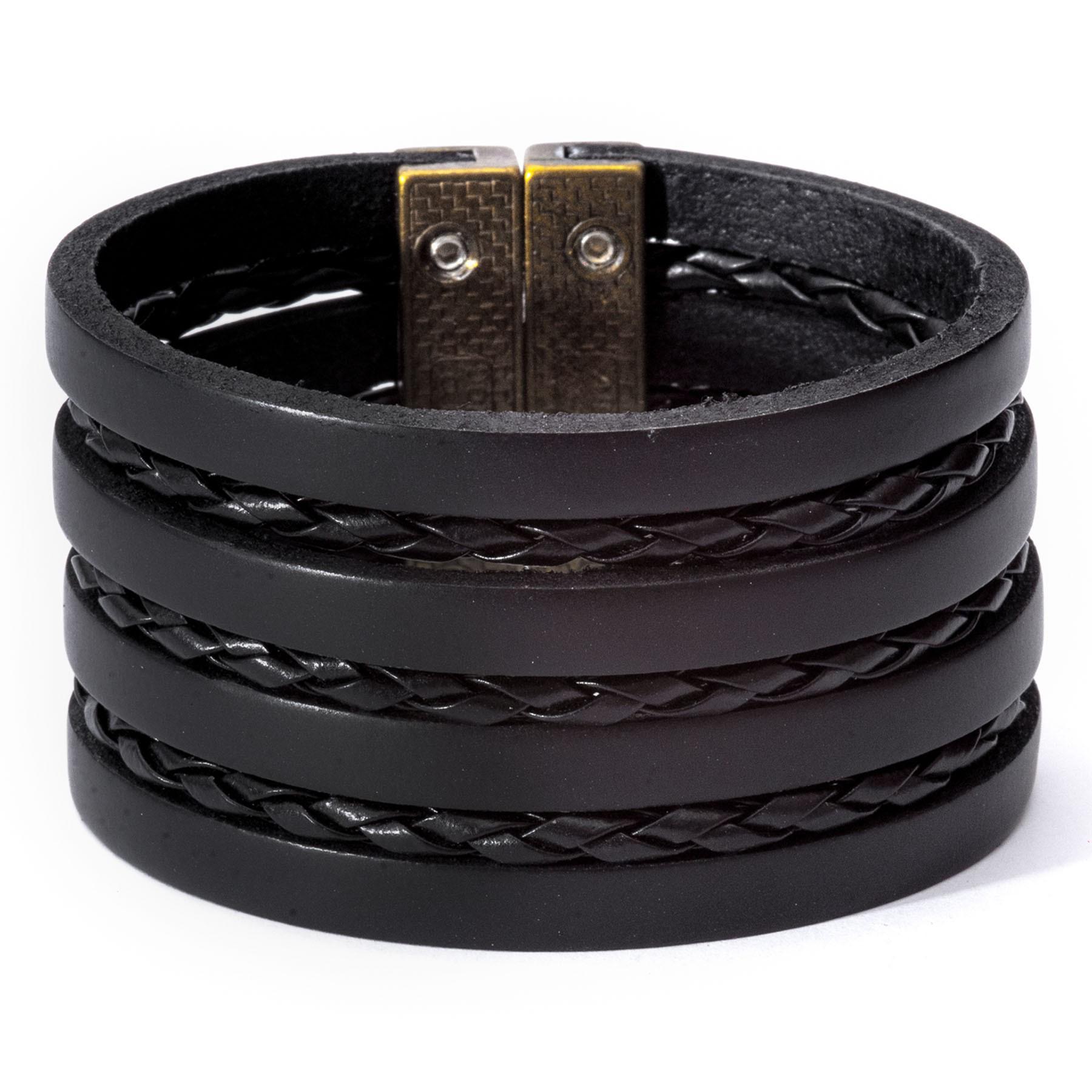 Bracelete De Couro Legítimo Preto  - Style Empório