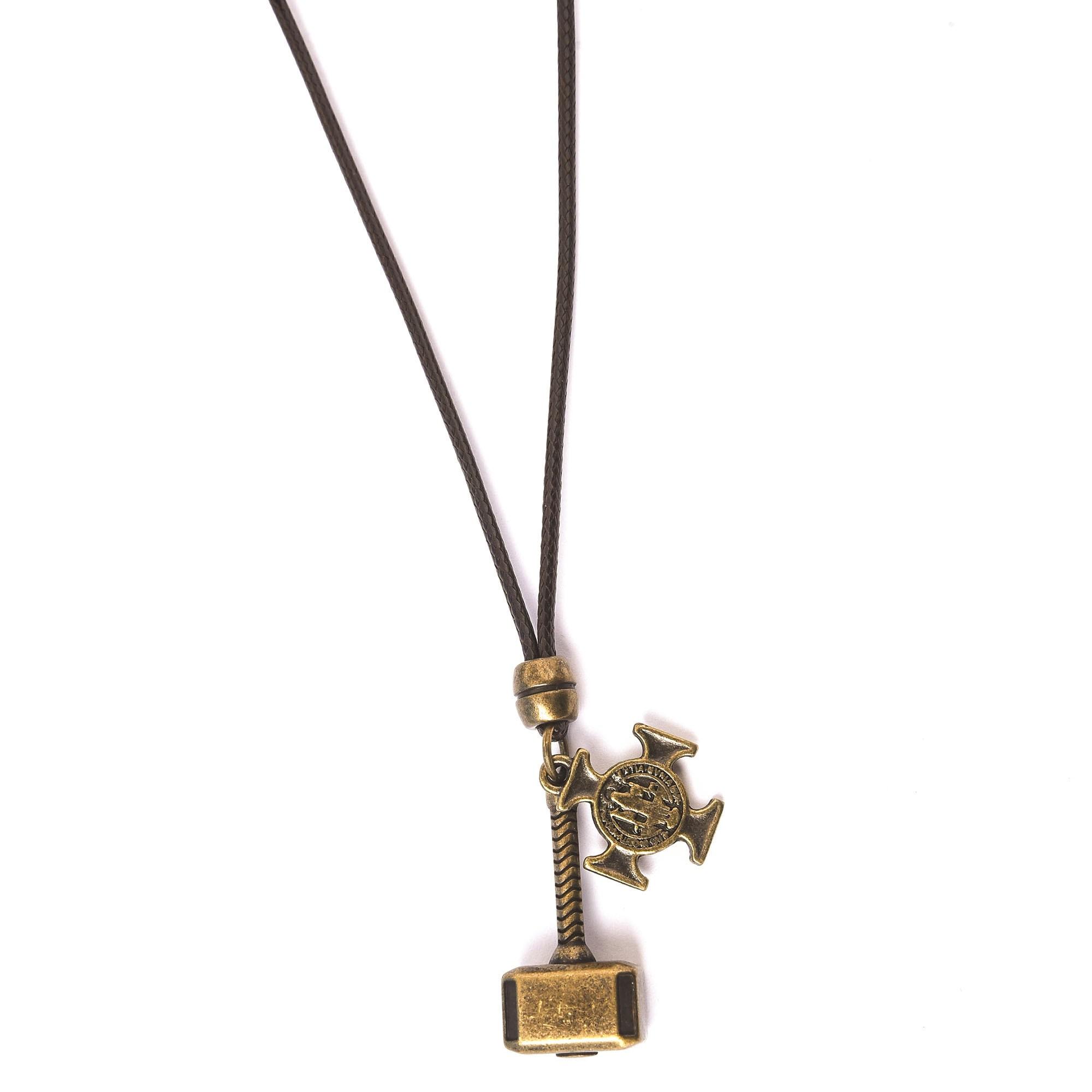 Colar Martelo Do Thor e Cruz São Bento Ouro Velho Ajustável  - Style Empório