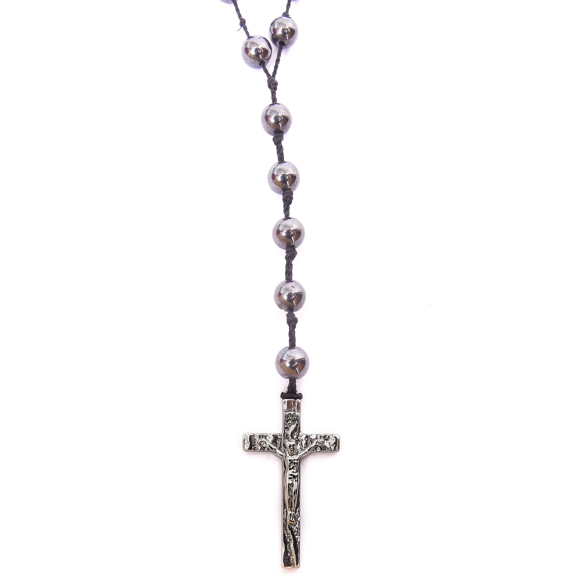 Colar Terço De Pedra Natural Hematita Com Crucifixo Prata  - Style Empório