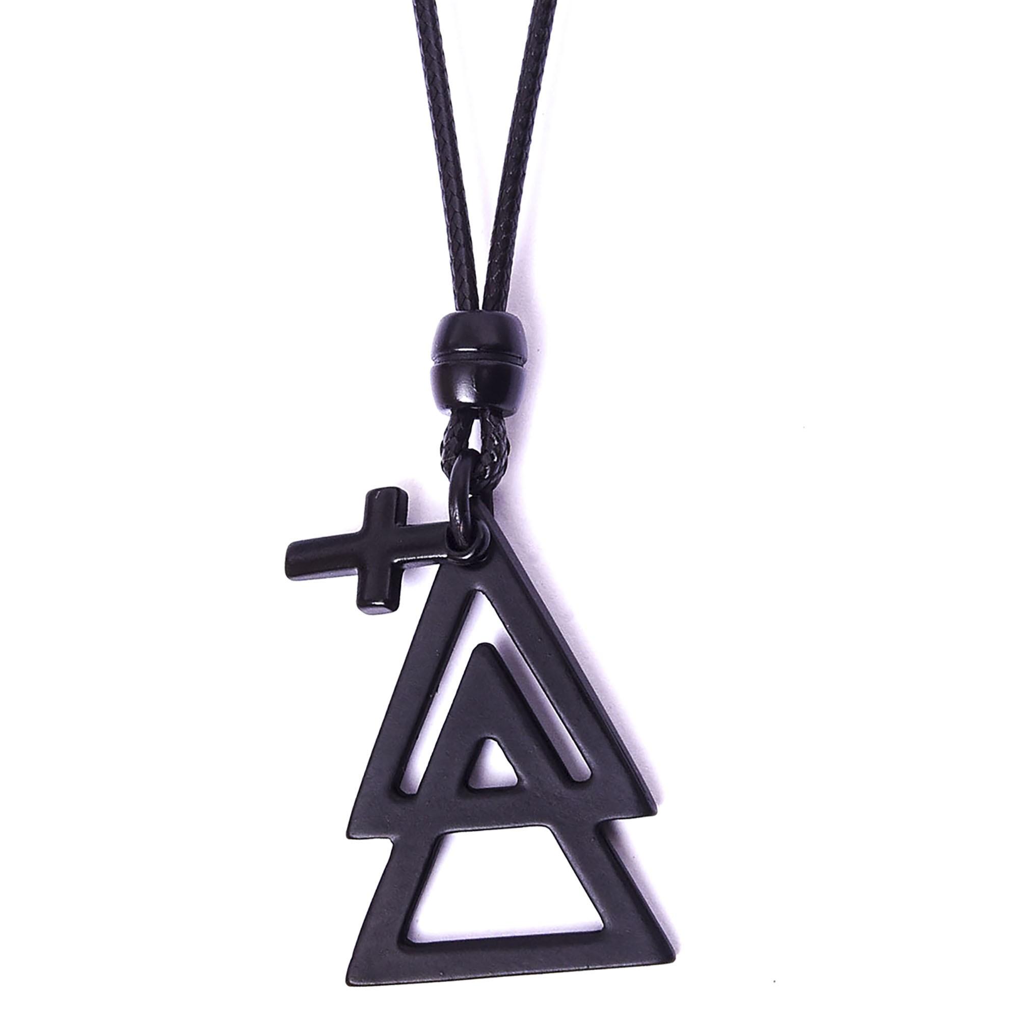 Colar Triângulos E Cruz Black Ajustável  - Style Empório