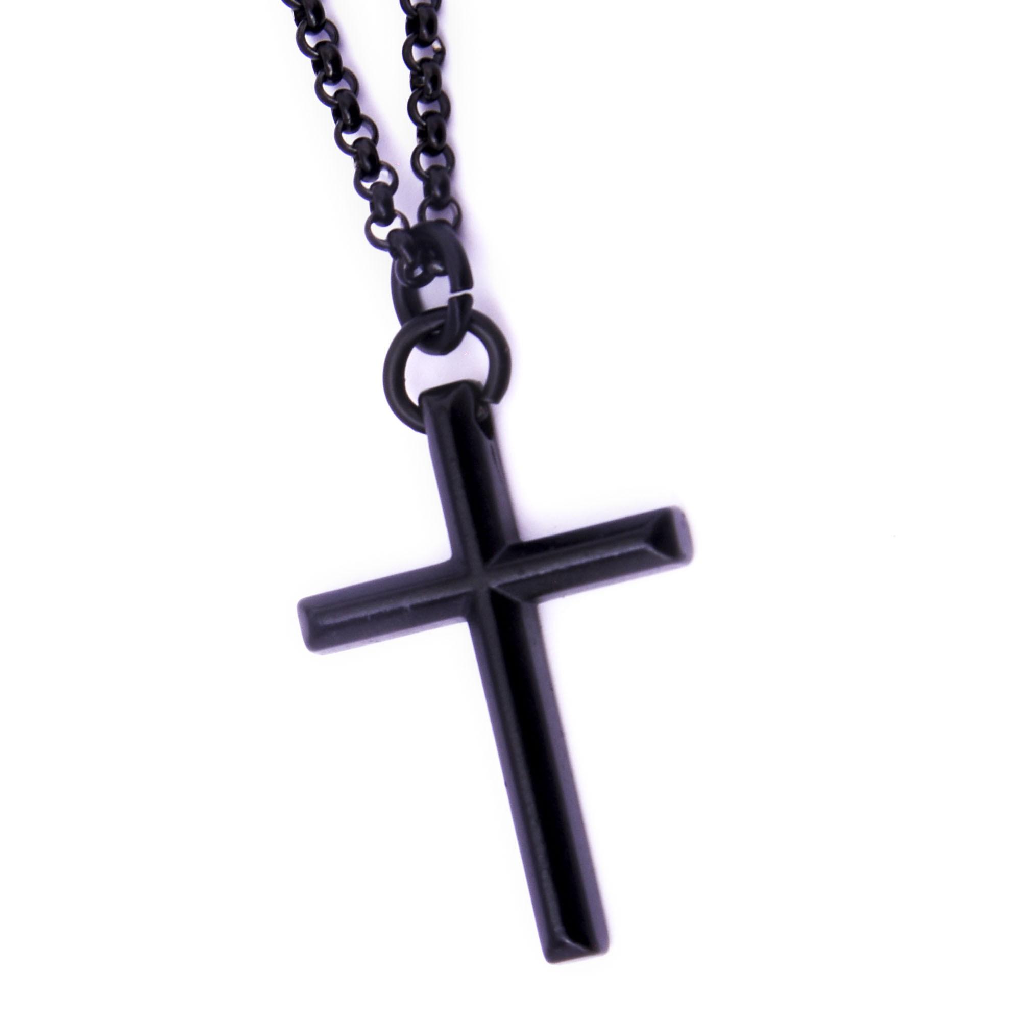 Corrente Aço Inoxidável Crucifixo Slim Black  - Style Empório
