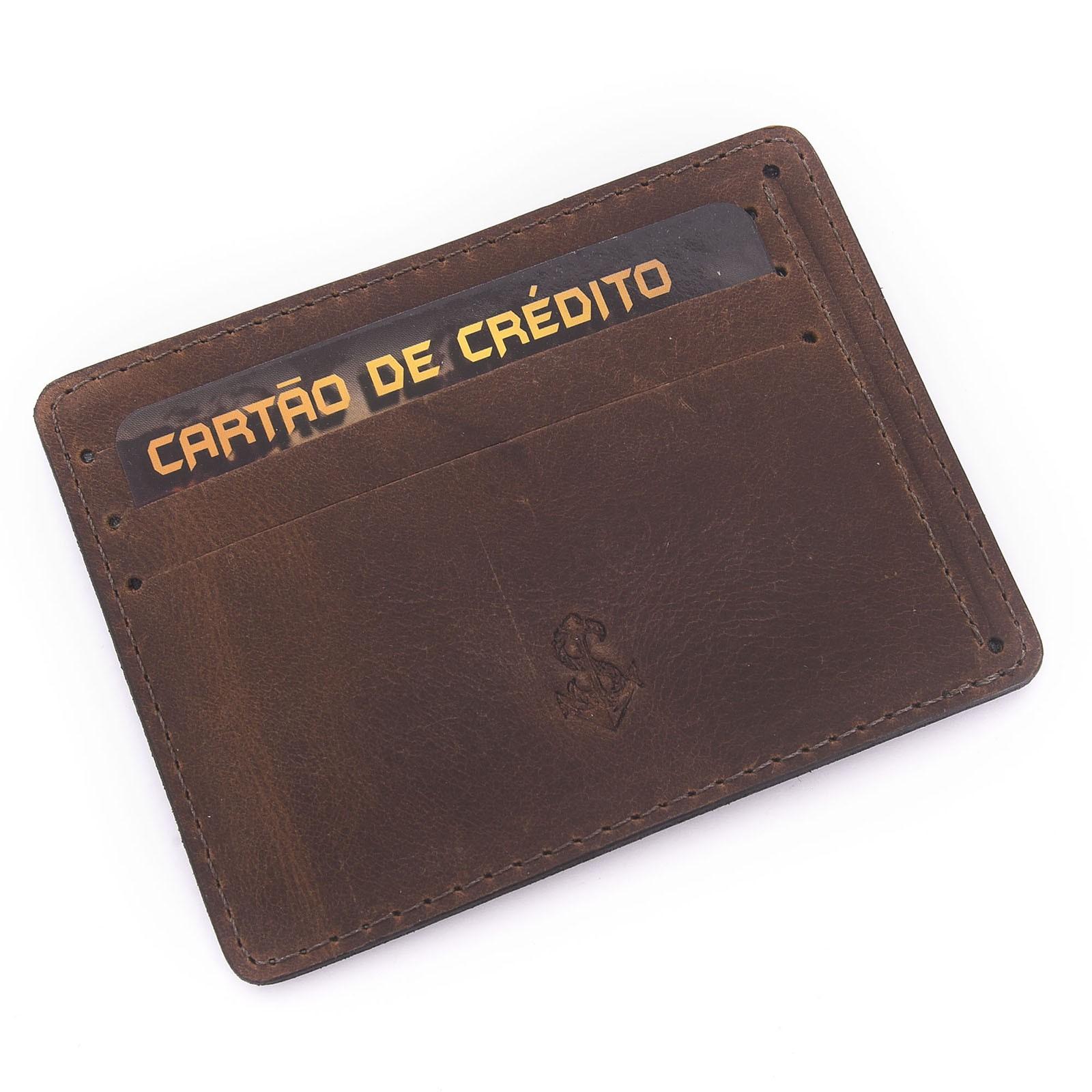 Porta-Cartão De Couro Legítimo Marrom  - Style Empório