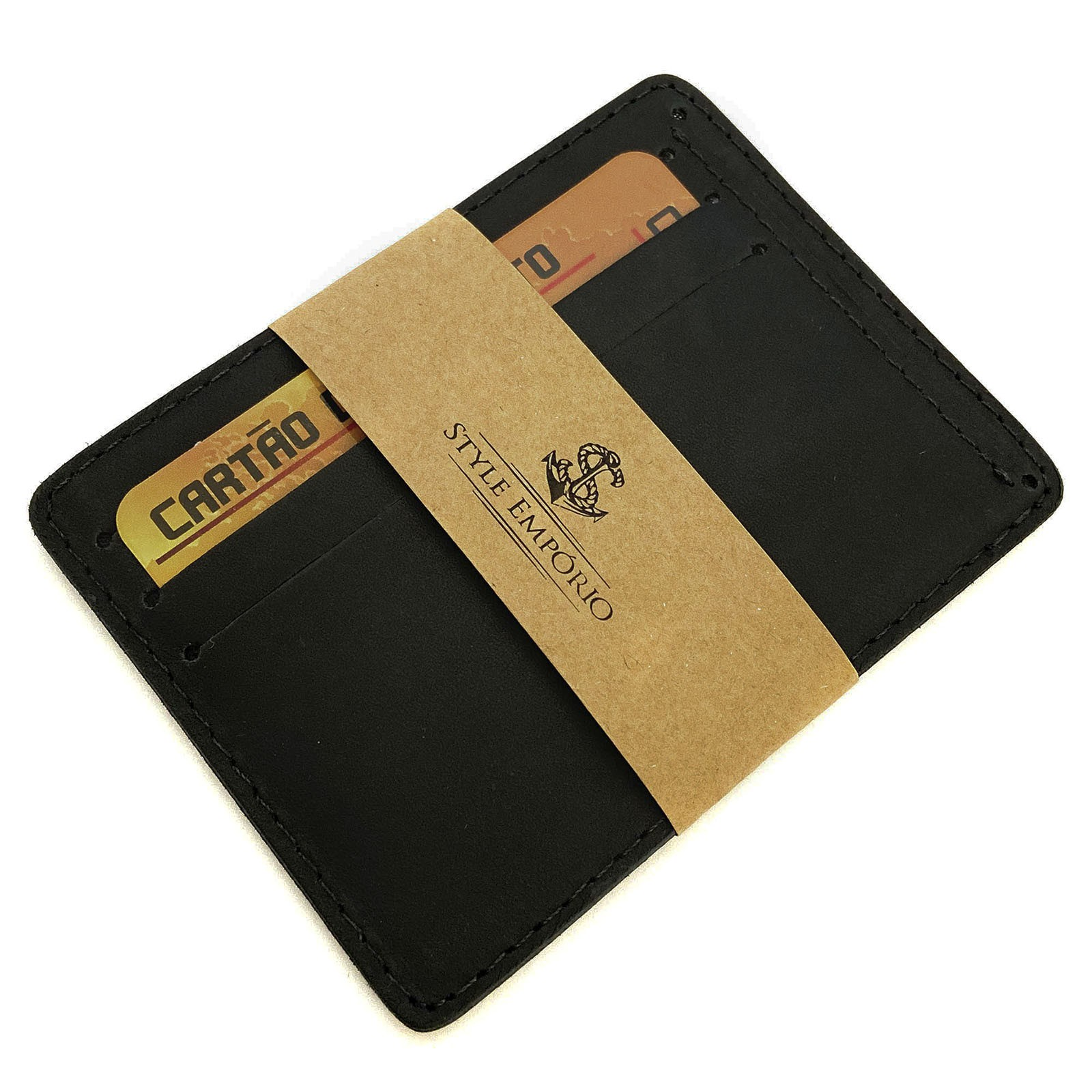 Porta-Cartão De Couro Legítimo Preto  - Style Empório