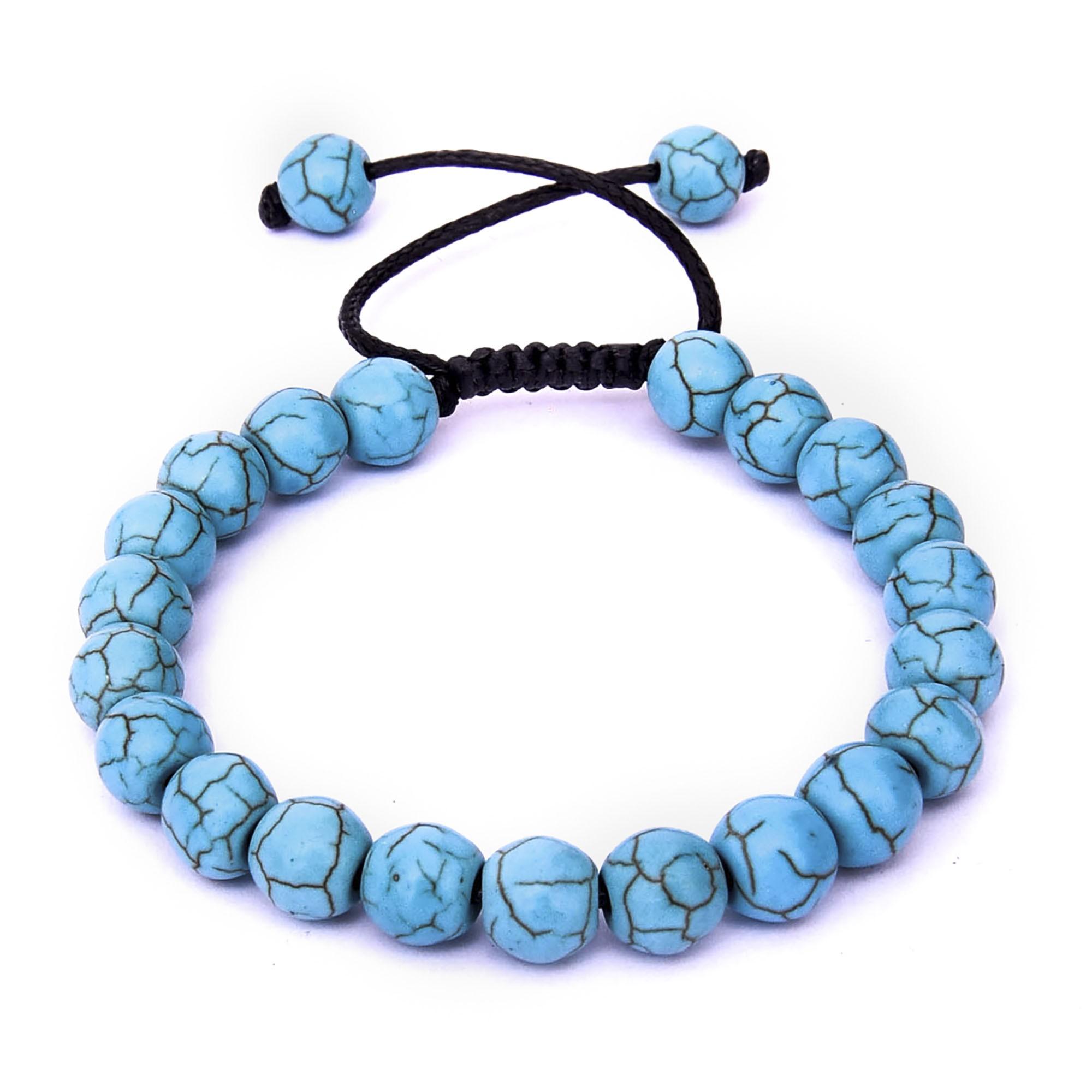 Pulseira De Pedra Natural Azul Turquesa - Ajustável  - Style Empório