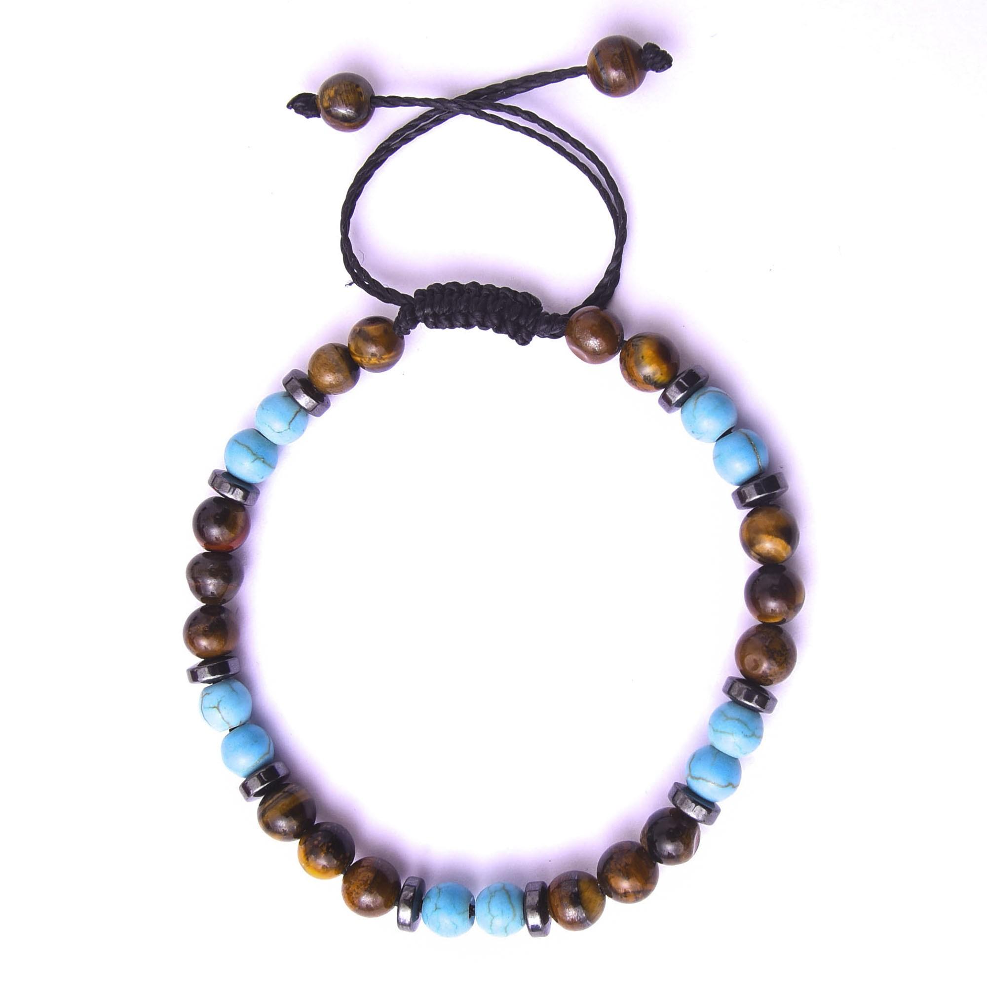 Pulseira De Pedra Natural Azul Turquesa e Olho De Tigre - Ajustável  - Style Empório