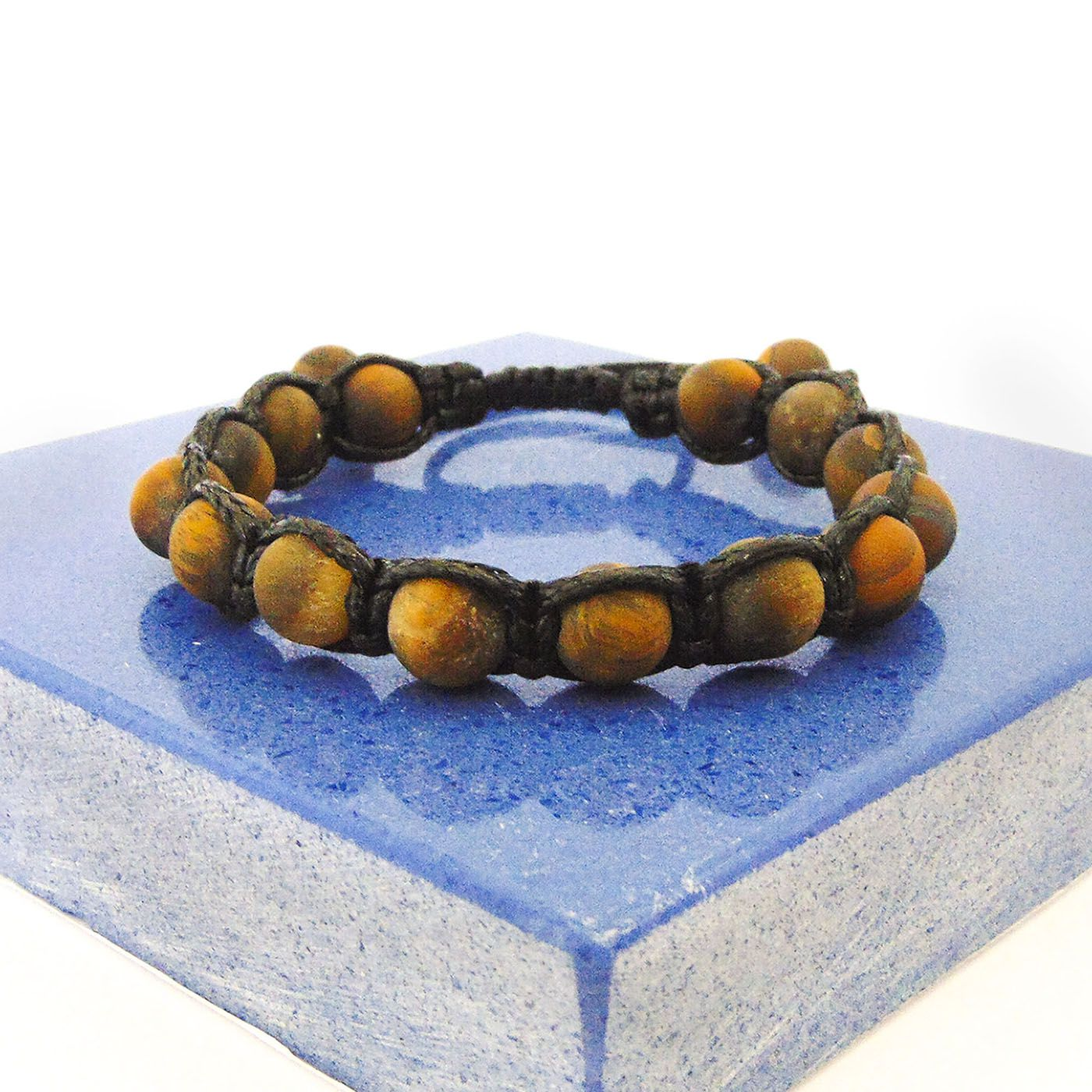 Pulseira De Pedra Natural Olho De Tigre - Ajustável  - Style Empório