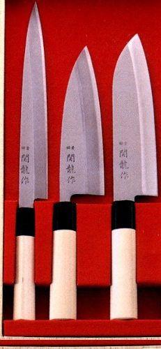 Kit 3 Facas Sushi Sushiman Yanagi Deba Santoku Sekiryu
