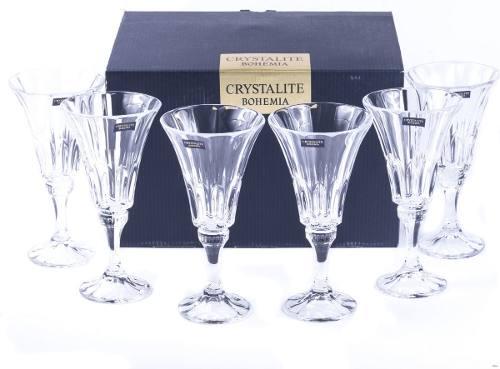 6 Taças de Cristal Wellington Bohemia 280ml Crystalite República Theca