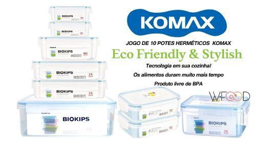 Jogo De Potes herméticos Biokips Komax Food Saver modulares 10 Peças