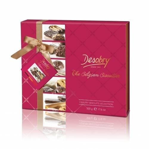 Caixa Presente Biscoitos Chocolate Belga Sortidos 500g