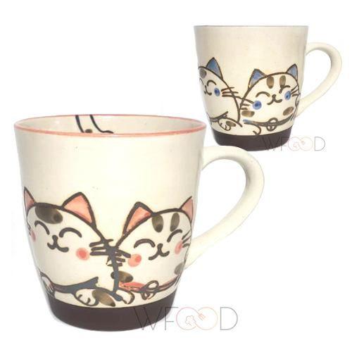 Par Canecas Porcelana Japonesa 280ml Gato Feliz Na Cor Rosa Ou Azul