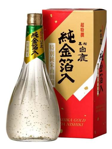 Saque Hakushika Junmai Sake Gold com Flocos Ouro 720ml