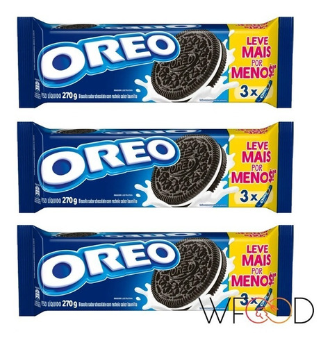 Biscoito Oreo Original Recheio Baunilha 3x270g Economico