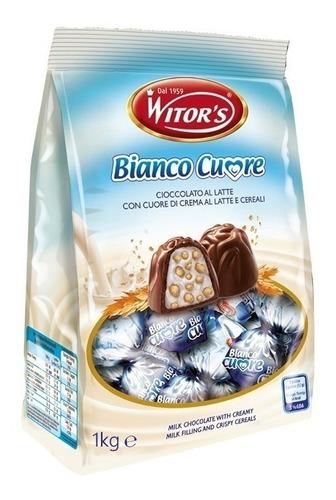 Chocolate Branco diversificado crocante Italiano Witors Bianco Cuore 1kg