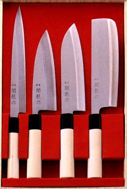 Facas Sushi 21cm Kit Sushiman Yanagi Deba Santoku Nakiri