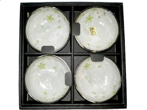 Jogo Bowl Porcelana Japonesa Verde Sakura 4 Unidades