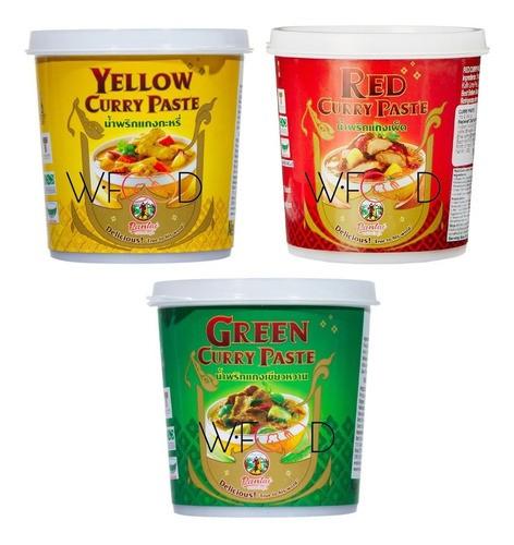 Pasta Curry Vermelha Amarela Verde Pantai Tailandes 3x400gr
