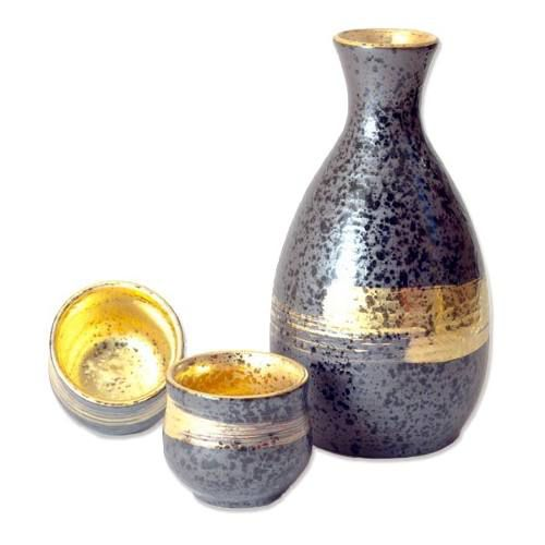 Presente Jogo Sakê Porcelana Japonesa Artesanal Ouro