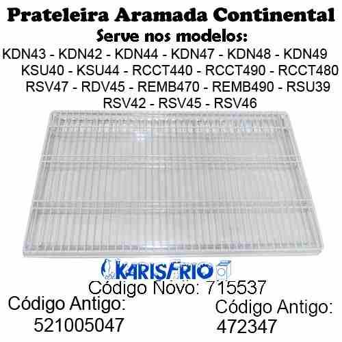 Kit 3 Prateleiras Aço Geladeira Continental Copacabana
