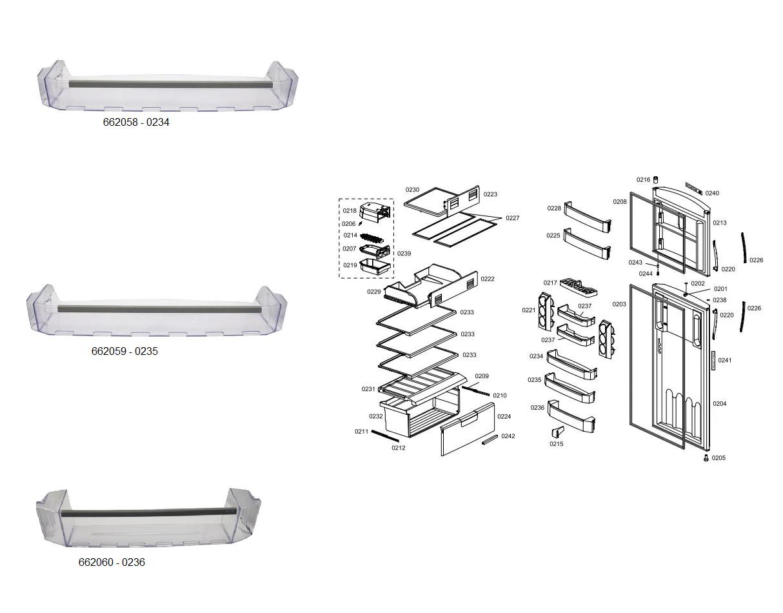 3 Prateleiras de Garrafas Para Refrigeradores Bosch KDN 42 43 44 46 47