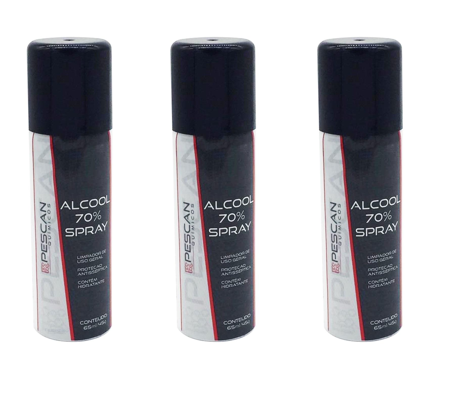 6 Spray Álcool 70% Antisséptico Higienizador 65 ml
