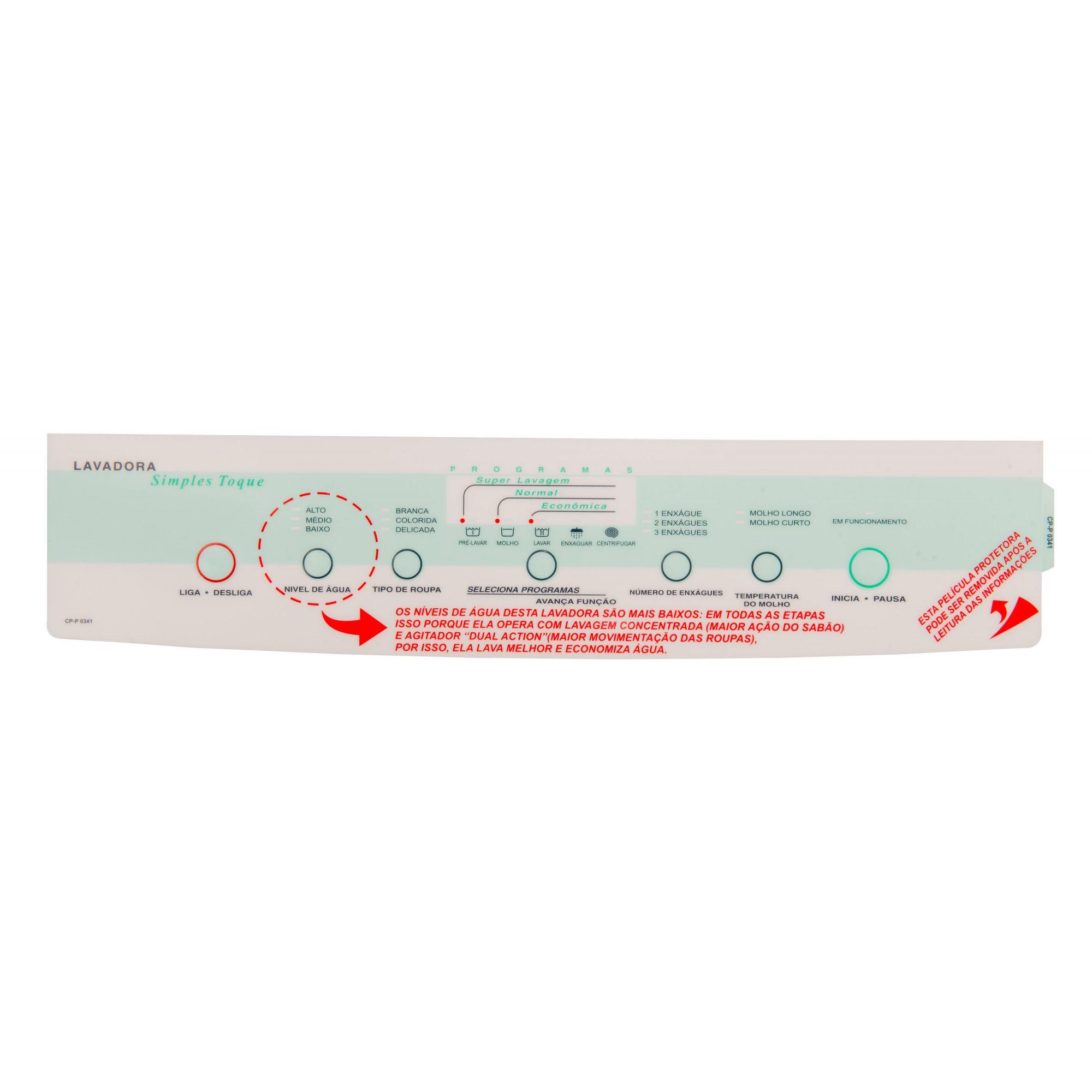 Painel Decorativo Compatível Lavadora BWF22A 326000771-CP0341