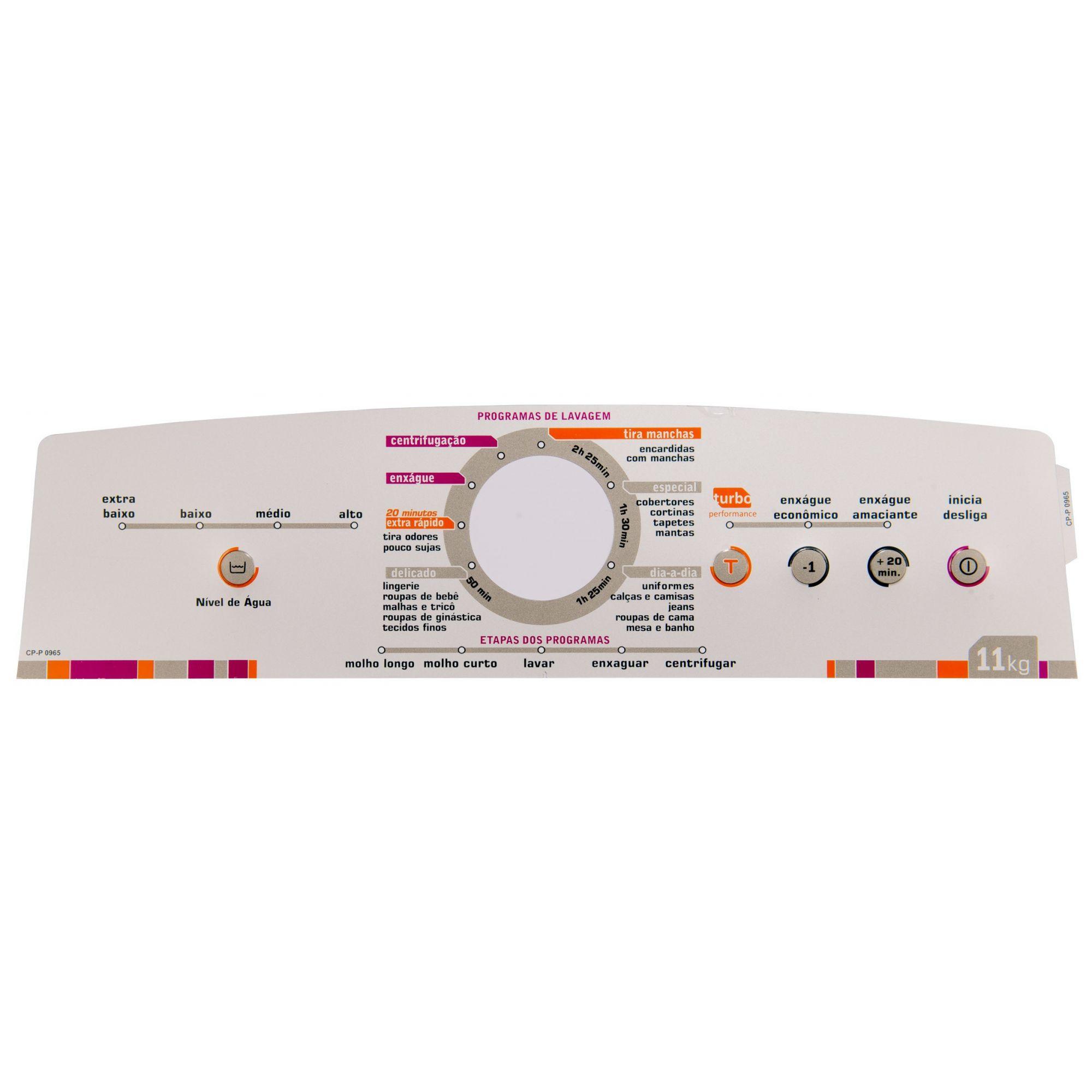 Painel Decorativo Compatível Lavadora BWL11A 11kg 326064461-CP0965