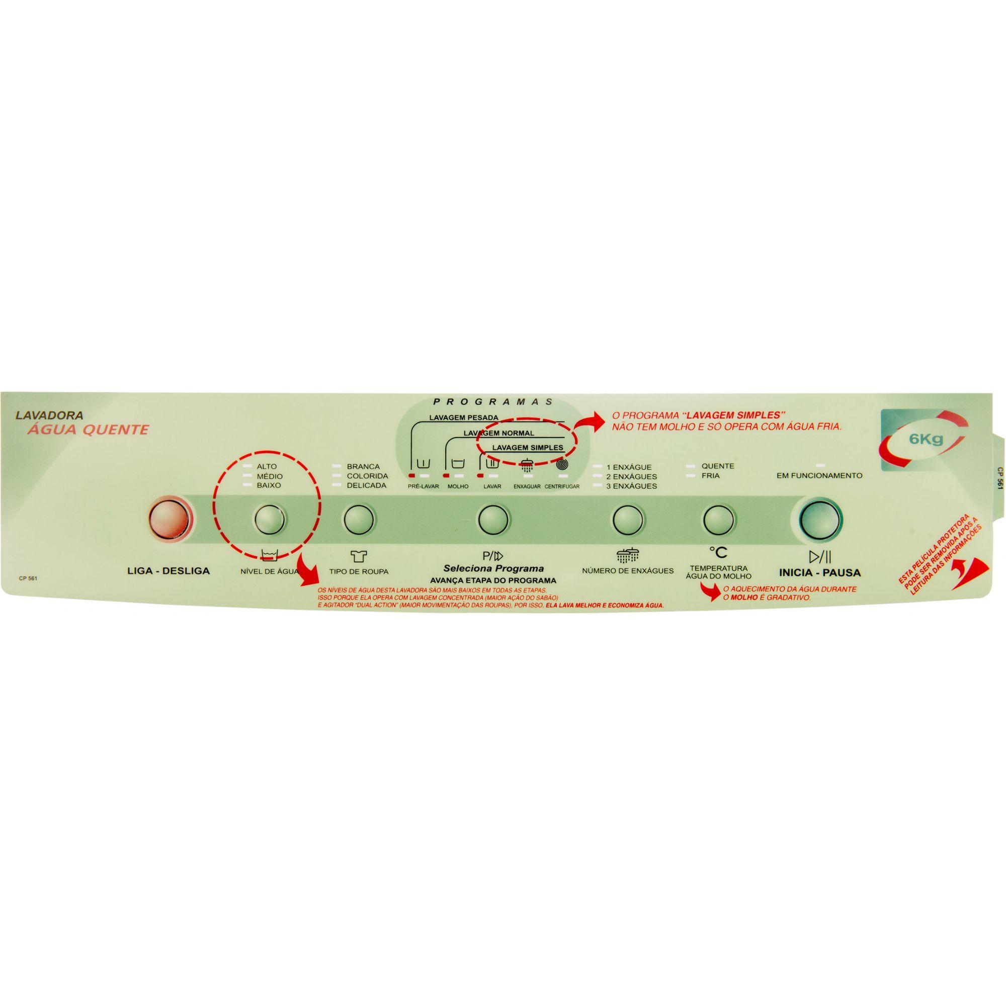 Painel Decorativo Compatível Lavadora BWQ06A 326025081-CP0561