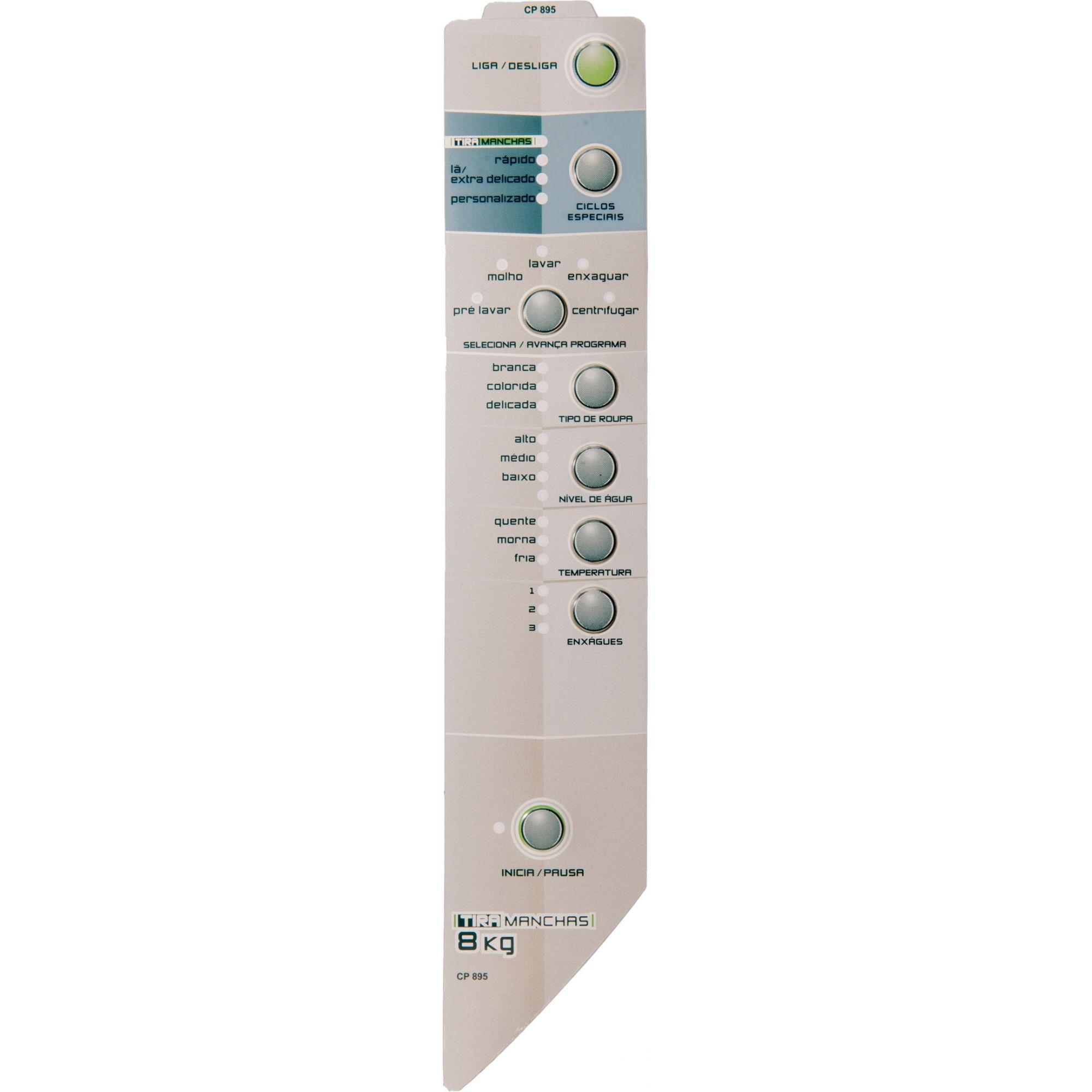 Painel Decorativo Compatível Lavadora BWT08C Tira Mancha 8Kg Velazquez Direito 326035815-CP0895