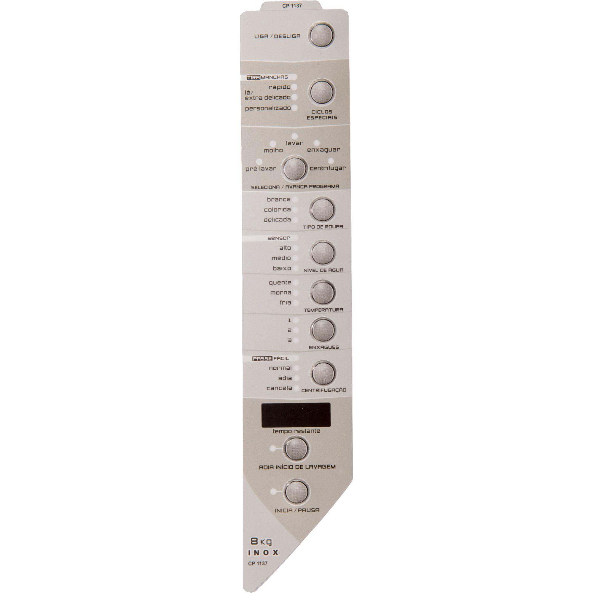Painel decorativo Compatível Lavadora XWH08A Inox DireitO 326042450-CP1137