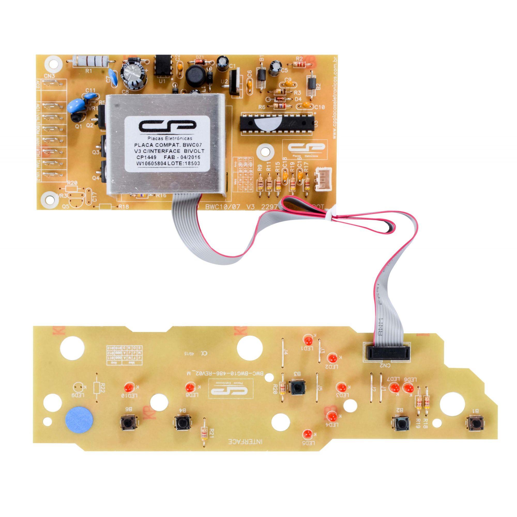Placa Eletrônica Lavadora Brastemp Bwc07ab Bwc08ab Versão 3 Bivolt Cp