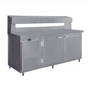 Balcão Condimentador Comercial Para Pizzaria Com Torre Refrigerada RF-037 8 Cubas de 1/6 Inox Frilux