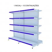 Gondola Central Com 1 Inicial e 10 Continuações Flex 40 Porta Etiquetas Azul - Amapá