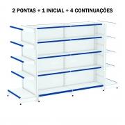 Kit Gôndola Central Com 2 Pontas 1 Inicial e 4 Continuações Com Porta Etiquetas Azul - Amapá